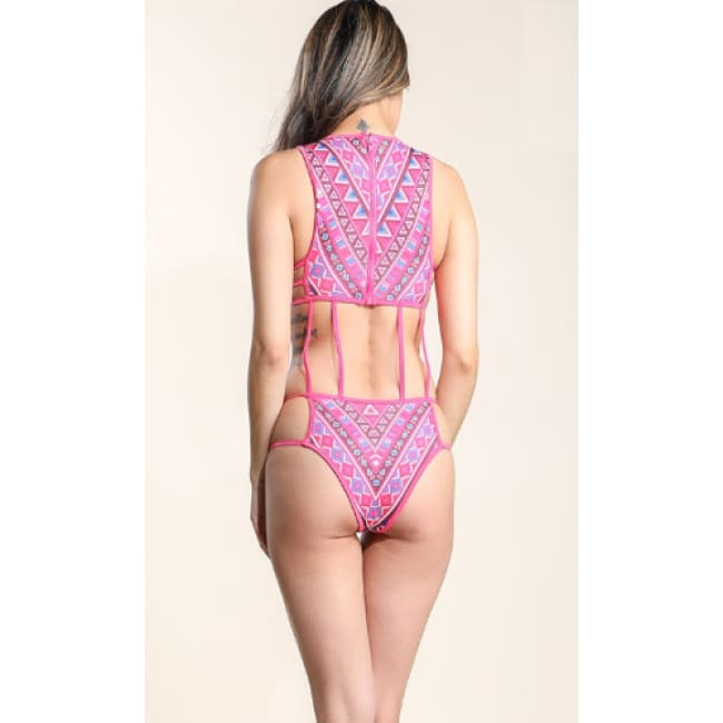 Printed Cage Swimwear Set - Swimwear