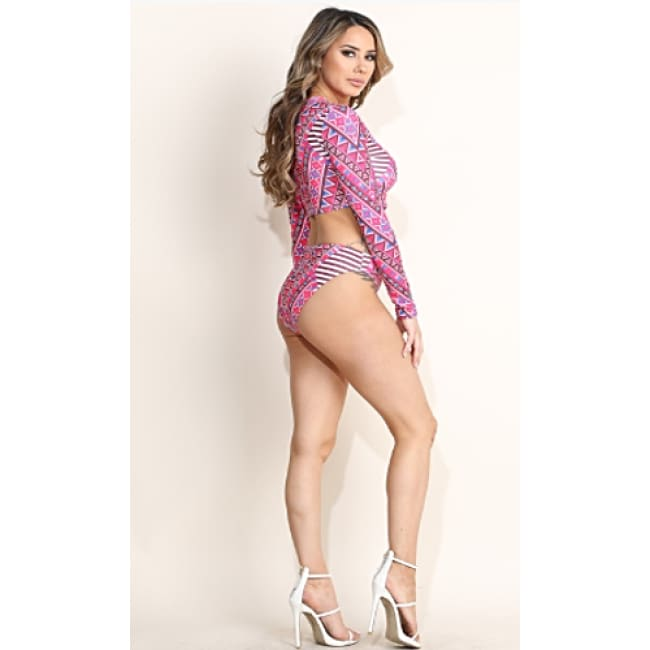 Printed Long Sleeve Swimwear Set - Swimwear