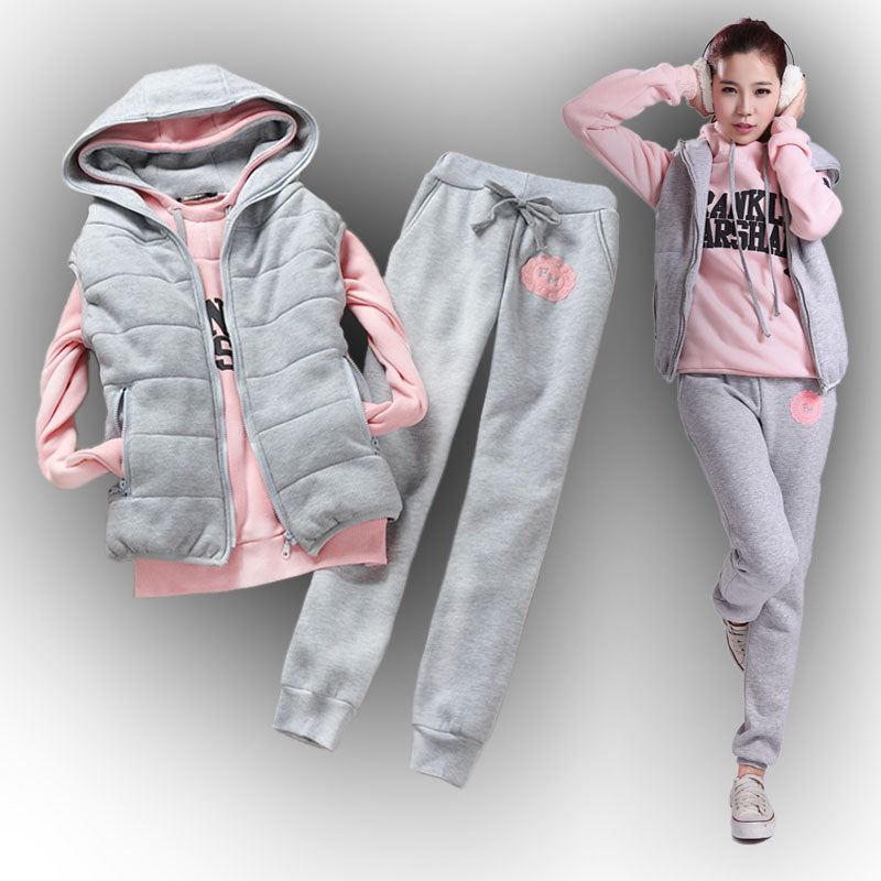 Women's sweatshirt vest pants 3 pieces Set