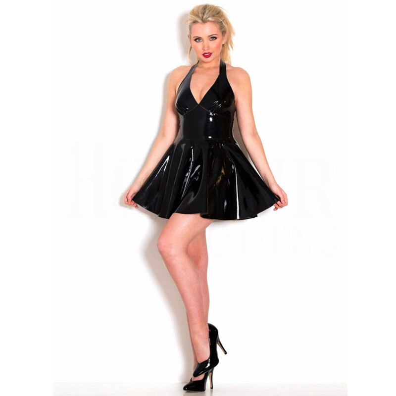 Wet Look Faux Leather Rubber Mini Dress