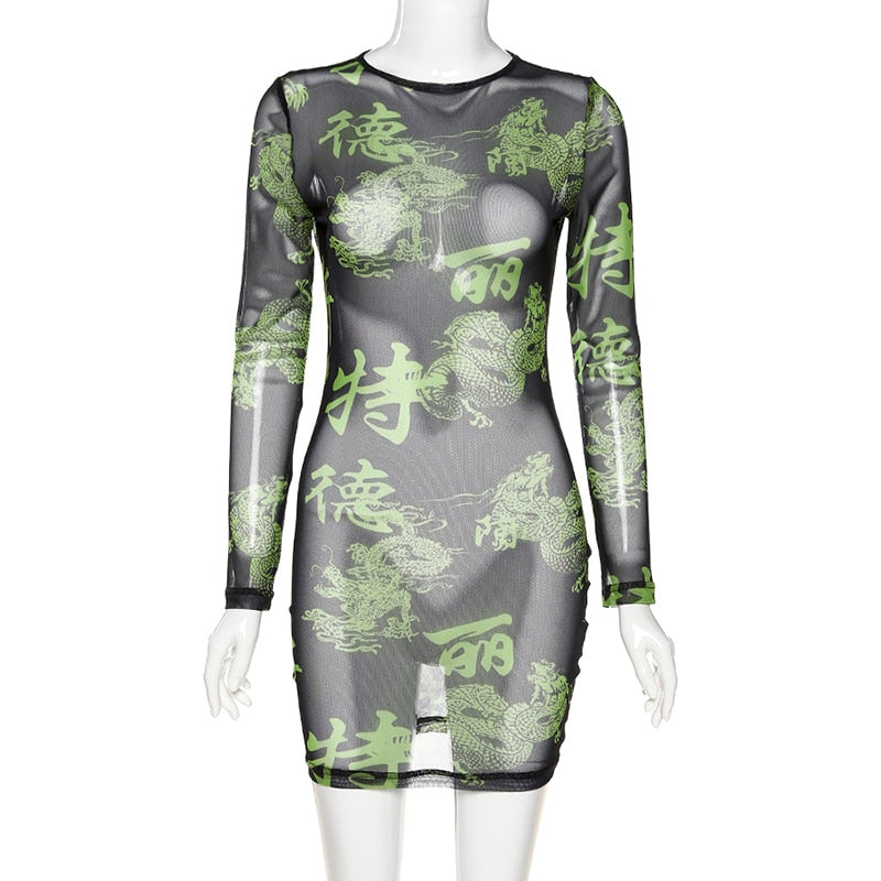 Dragon Print Bodycon Sheer Mini Dress