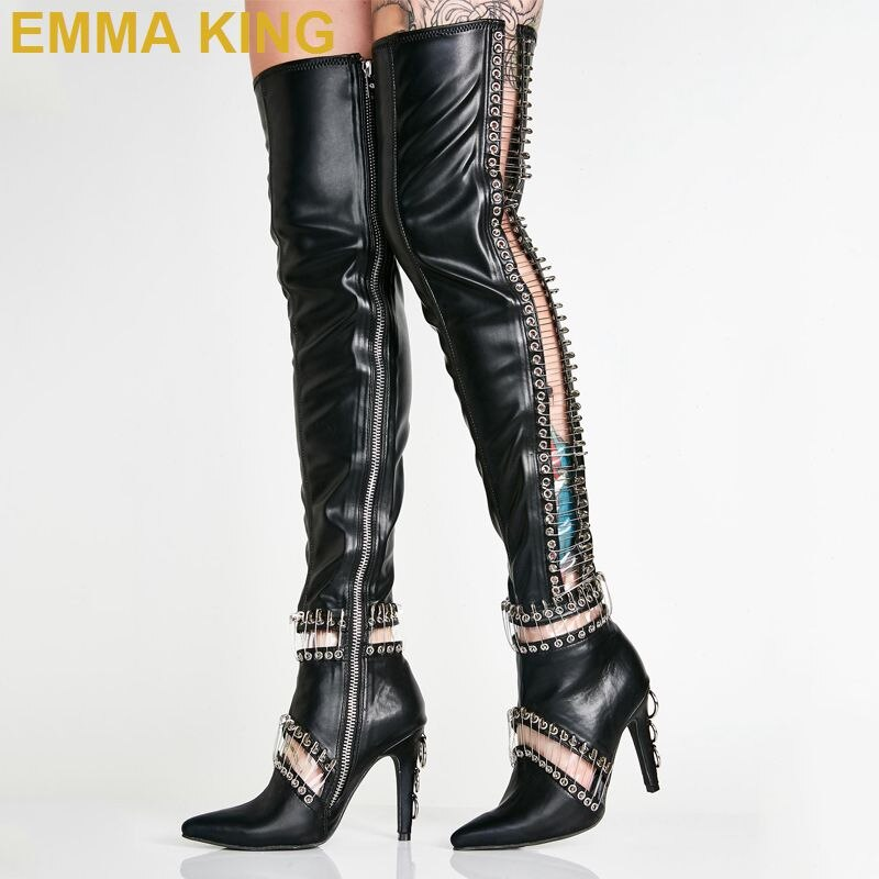 Emma King Designer Black Leather Over The Knee Thigh High Boots