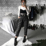 Women's High Waist Harem Plaid Pants