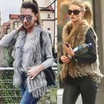 Natural Rabbit Fur Vest With Raccoon Fur Collar