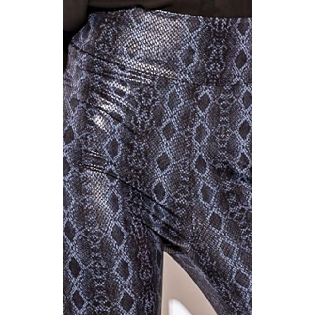 Python Wet Look High Waist Leggings - Leggings