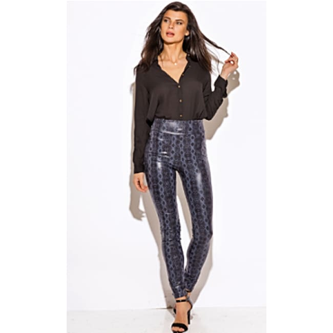 Python Wet Look High Waist Leggings - S / Navy Blue - Leggings