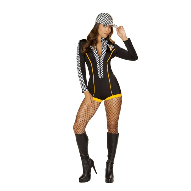 Race Car Diva Costume Set - Small / Black/Yellow/White - Costumes