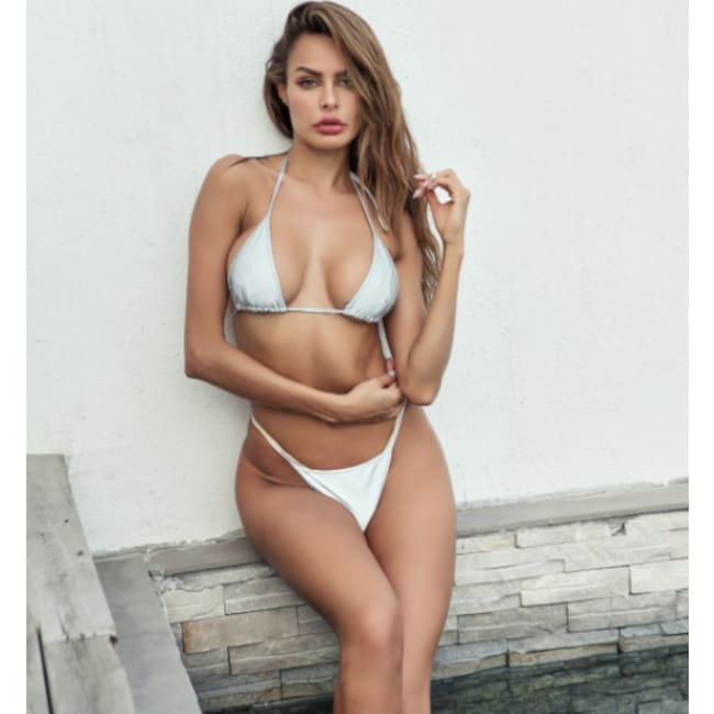 Reflective Triangle Bikini Set - S / Silver - Swimwear