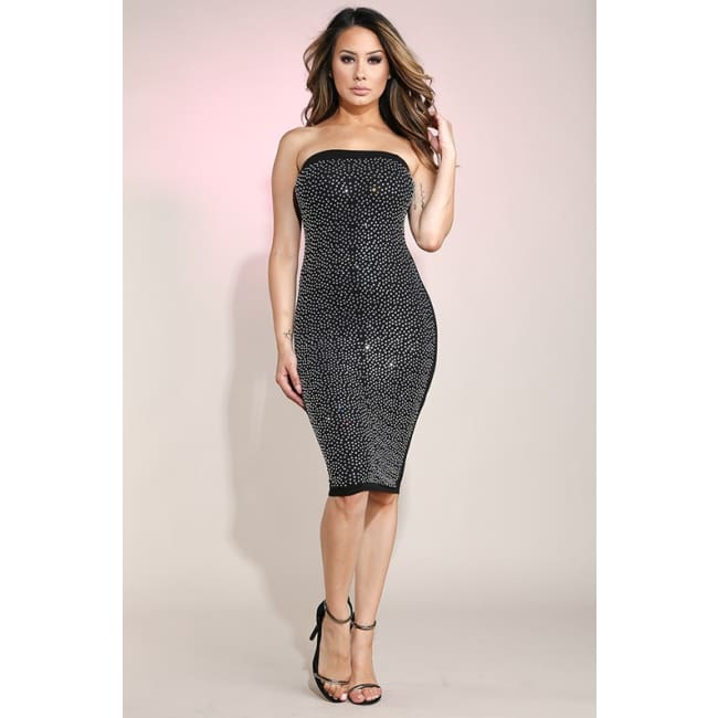 Rhinestone Embellished Tube Dress - S / Black - Dresses