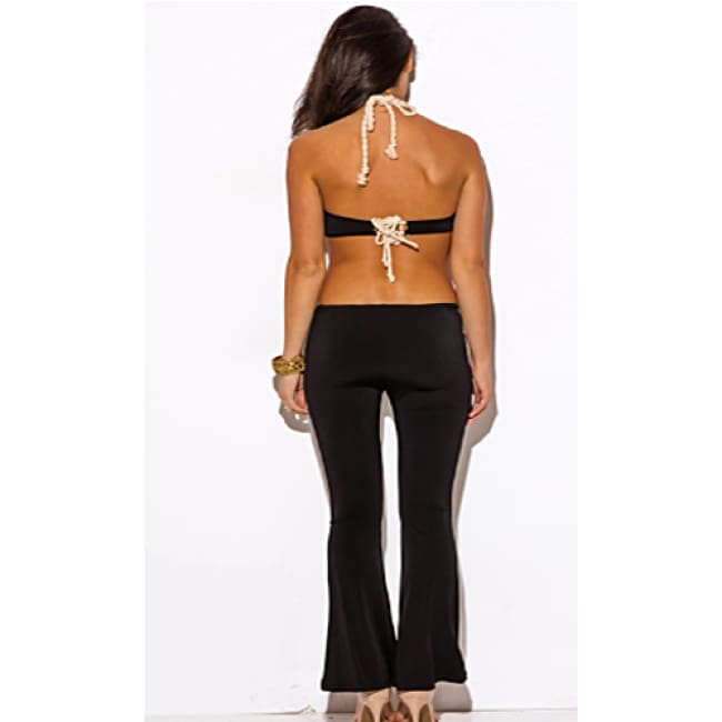 Rope Halter Cut Out Backless Jumpsuit - Jump Suit