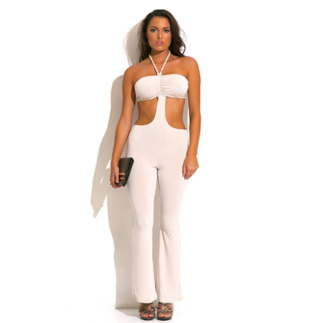 Rope Halter Cut Out Backless Jumpsuit - S / Nude - Jump Suit