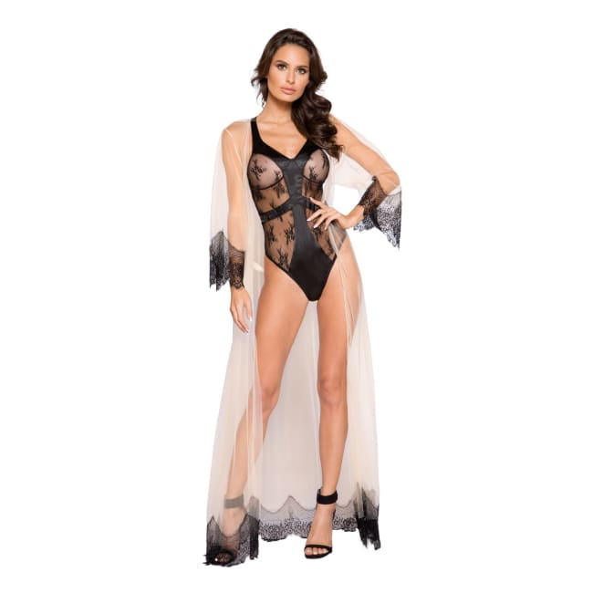 Satin & Lace Contrast Teddy with Snap Bottom - lingerie