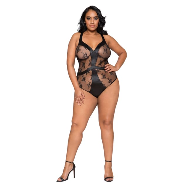 Satin & Lace Contrast Teddy with Snap Bottom - XL / Black - lingerie