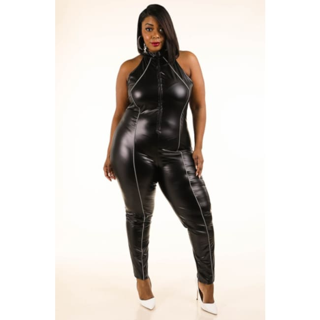 Women's Satin Faux Leather Jumpsuit