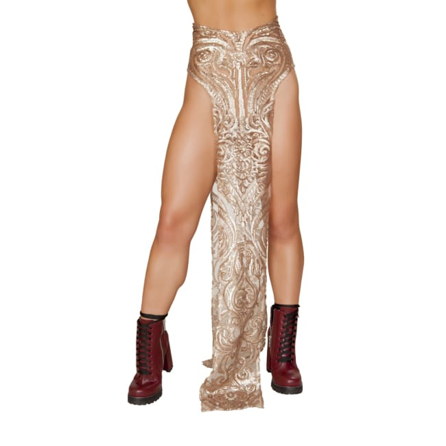 Sequin Skirt with Double Panel - Rose Gold / Small - Costume