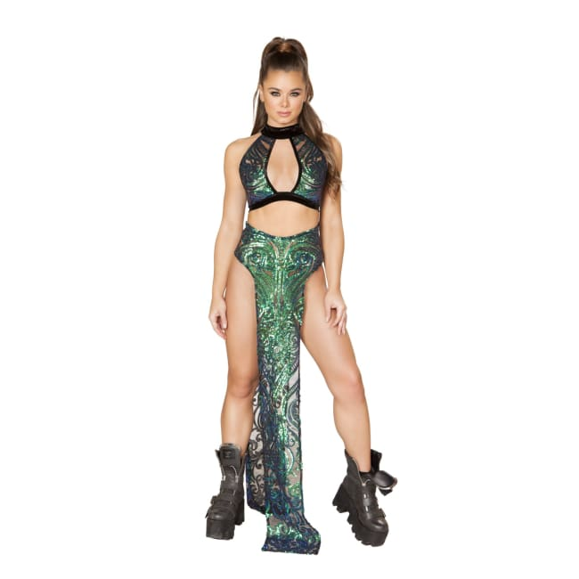 Sequin Top with Large Keyhole - Iridescent Green / Small - Costume