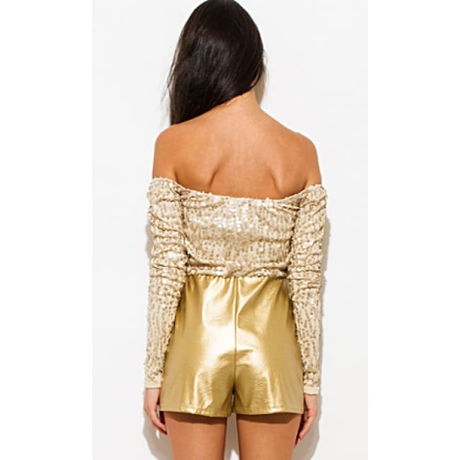 Sequined Off The Shoulder Romper - Romper