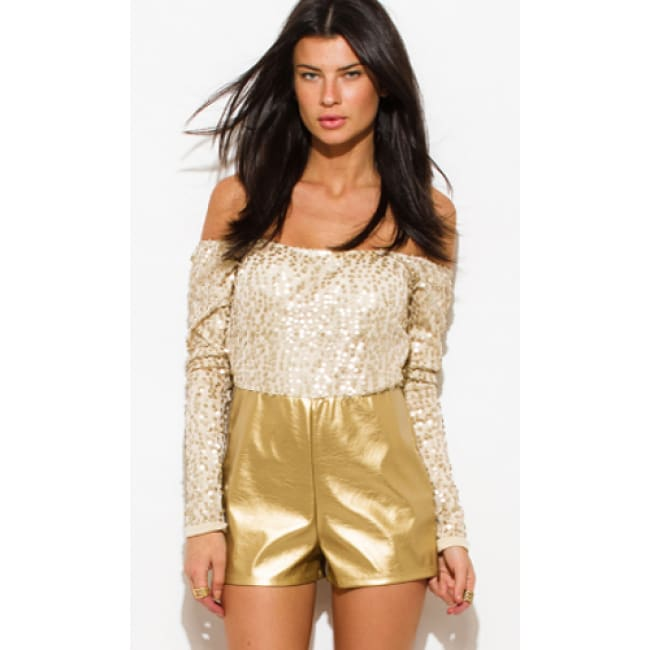 Sequined Off The Shoulder Romper - L / Gold - Romper