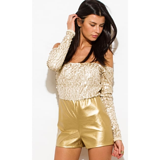 Sequined Off The Shoulder Romper - S / Gold - Romper