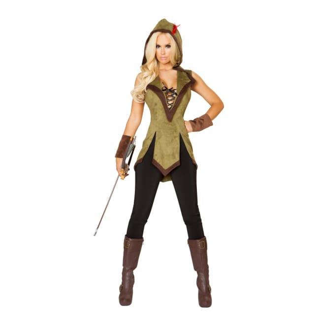 Sexy Hooded Outlaw Costume - Small / Green/Brown - Costumes