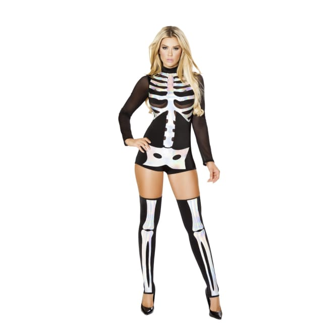 Sexy Skeleton Costume Set - M/L / Black/Silver - Costumes
