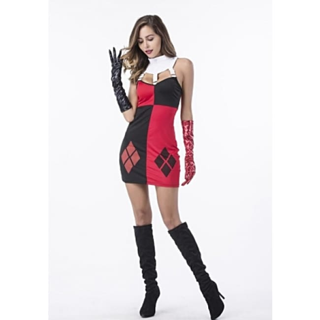 Sexy Villain Harley Quinn Costume - S / Black/Red - Costume