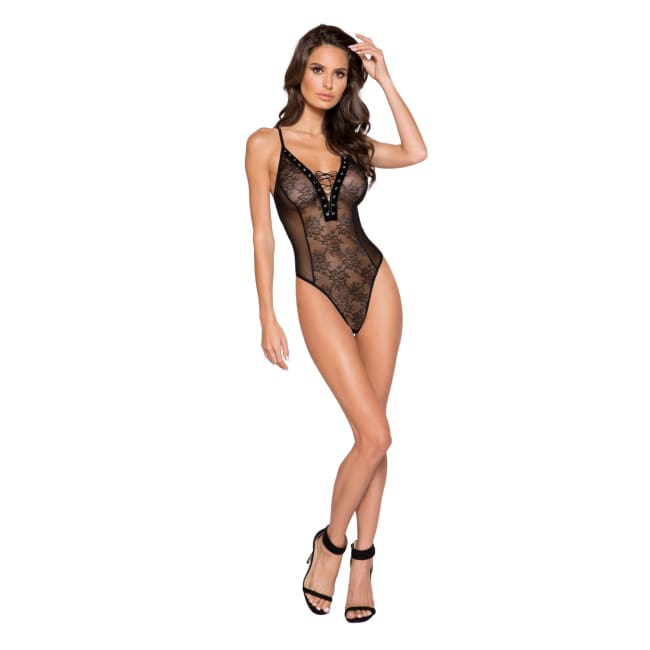 Sheer Lace & Mesh Bodysuit with Lace-Up Detail & Snap Bottom - S/M / Black - lingerie