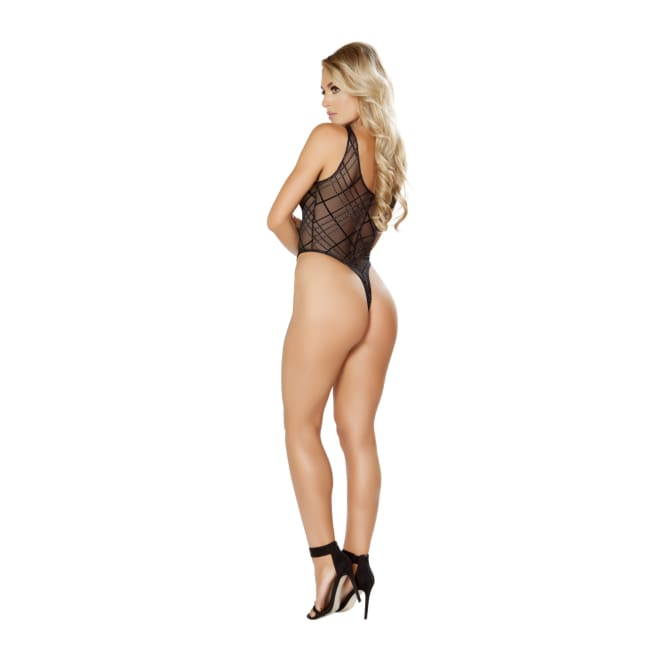 Sheer Lace-Up Teddy with Crisscross Design - lingerie