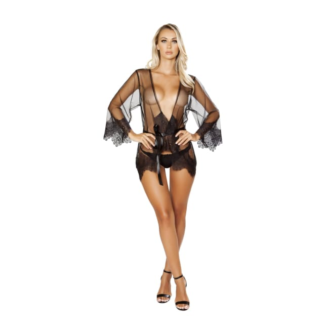 Sheer Robe with Eyelash Detail & Satin Tie - lingerie