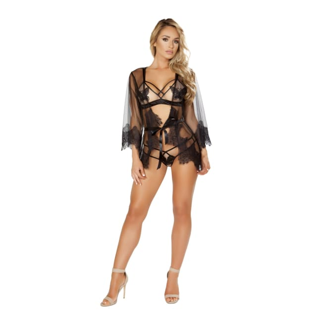 Sheer Robe with Eyelash Detail & Satin Tie - O/S / Black - lingerie