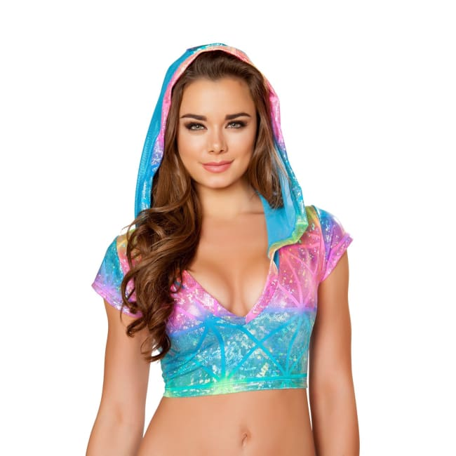 Shinny Hooded Top with Sheer Detail - M/L / Laser Multi - Tops