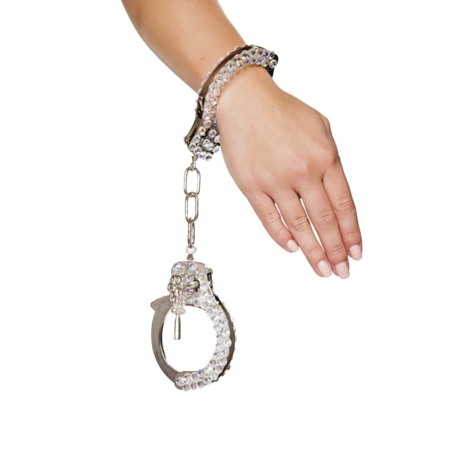 Silver Handcuffs with Rhinestones