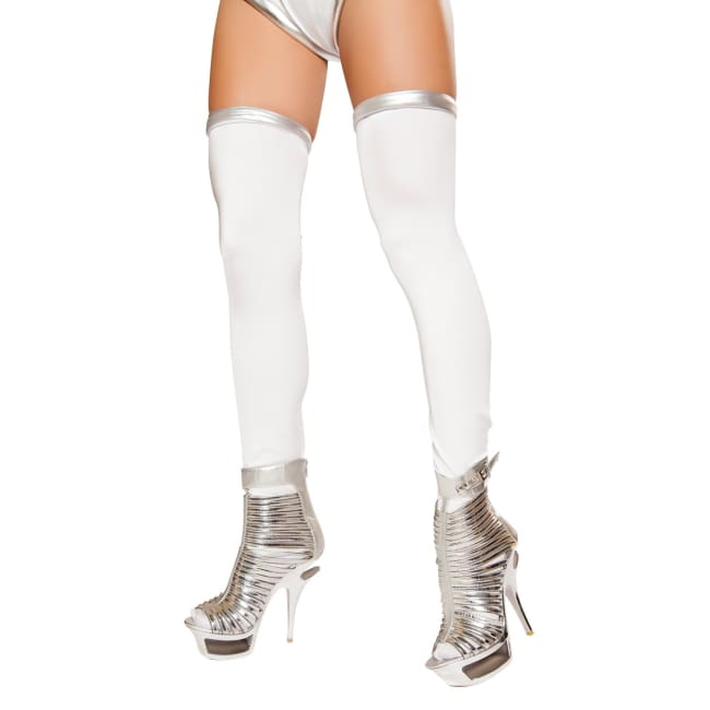 Silver Space Commander Leggings - One Size / White/Silver - Stockings