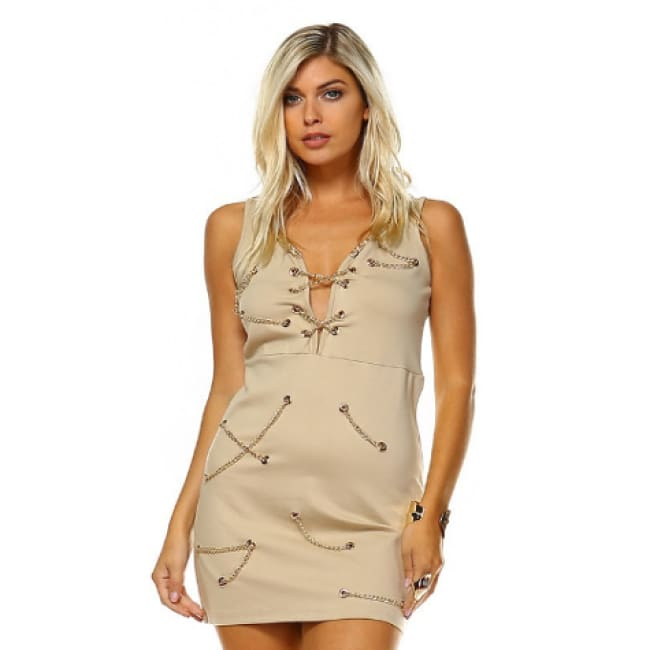 Sleeveless Chain Link Sweetheart Dress - S / Tan - Dresses
