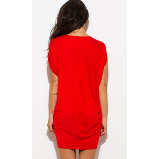 Sleeveless V Neck Tunic Dress - Dresses