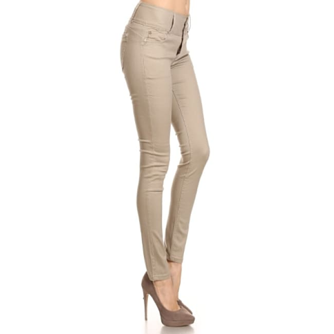 Slim Fit Khaki Color Pants - 1 / Tan - Jeans