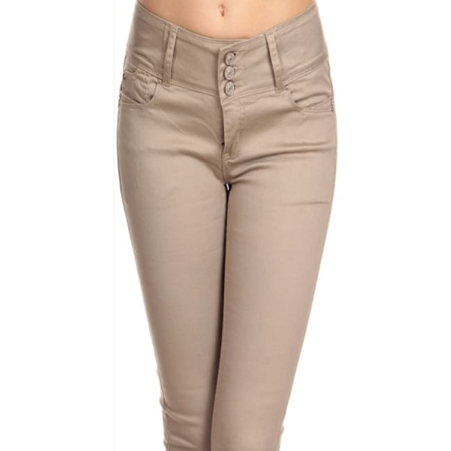 Slim Fit Khaki Color Pants - Jeans