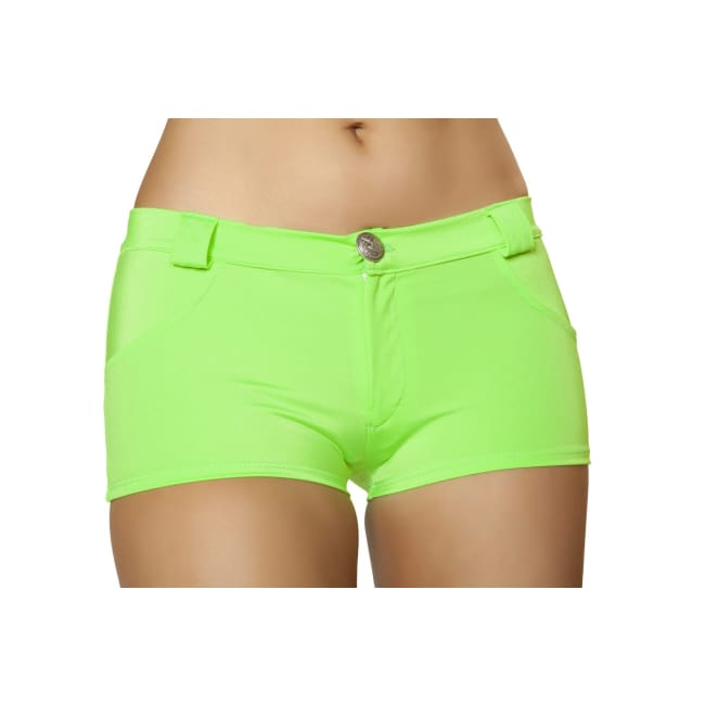 Solid Color Denim Booty Shorts - Lime / S/M - Shorts