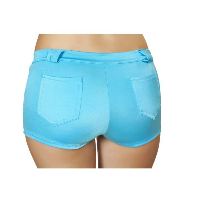 Solid Color Denim Booty Shorts - Shorts