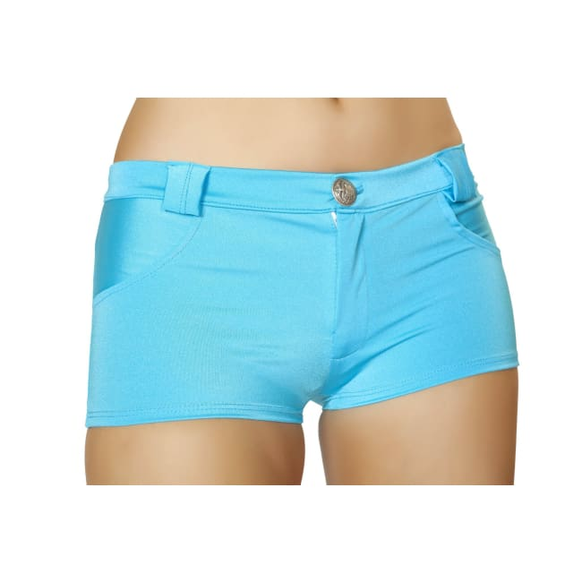 Solid Color Denim Booty Shorts - Turquoise / S/M - Shorts