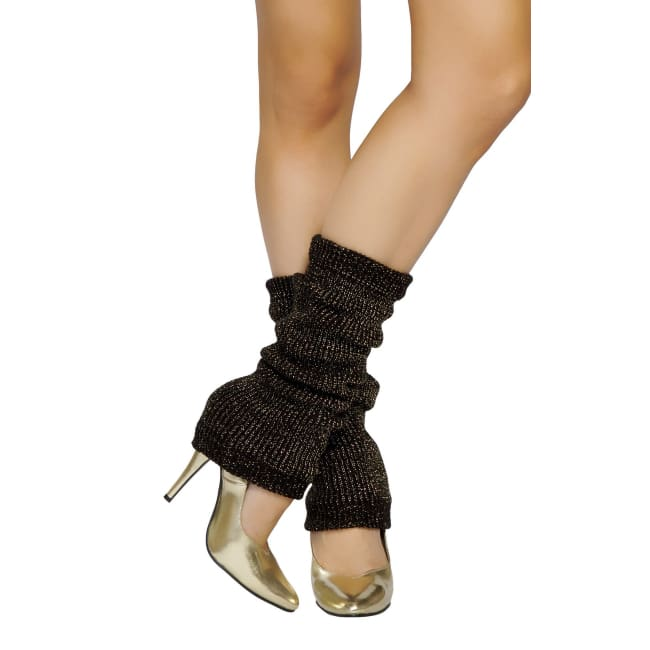 Solid Color Sparkle Leg Warmers - Black-Gold / One Size - Leg Warmers