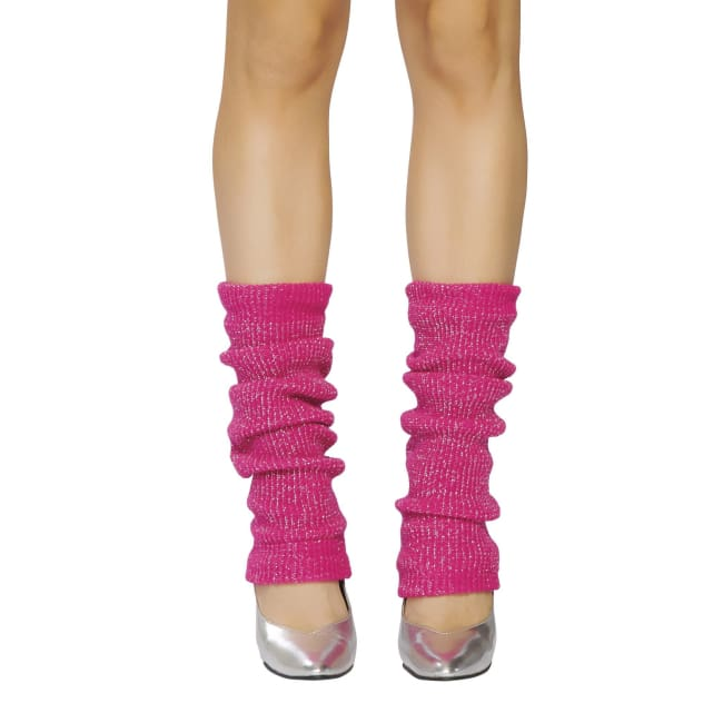 Solid Color Sparkle Leg Warmers - Hot Pink-Silver / One Size - Leg Warmers