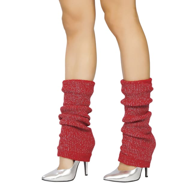 Solid Color Sparkle Leg Warmers - Red-Silver / One Size - Leg Warmers