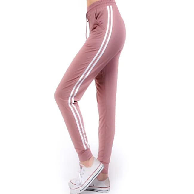 Women's Solid Jogger Striped Side Leggings