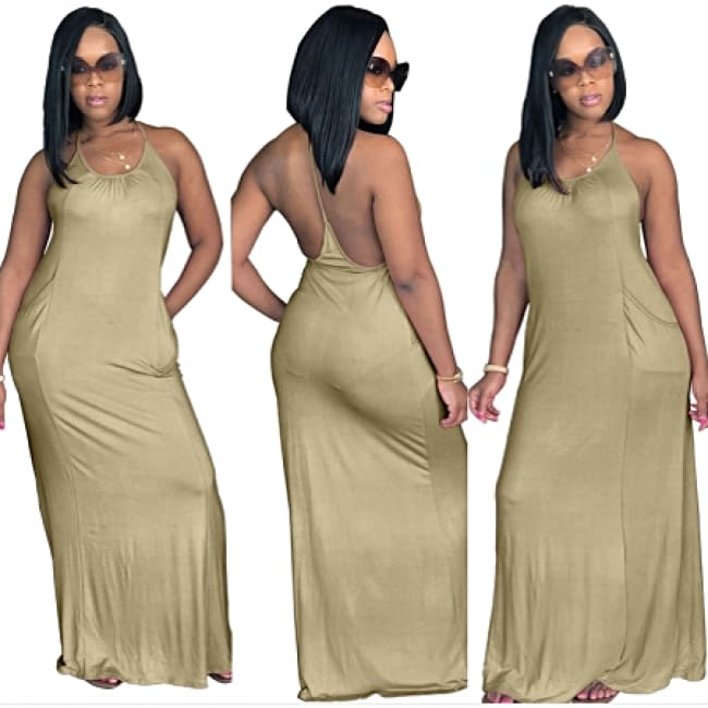 Spaghetti Strap Backless Casual Maxi Dress
