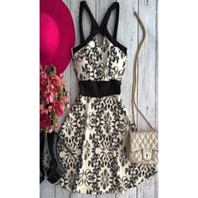 Spaghetti Strap Floral Print Dress - Dresses