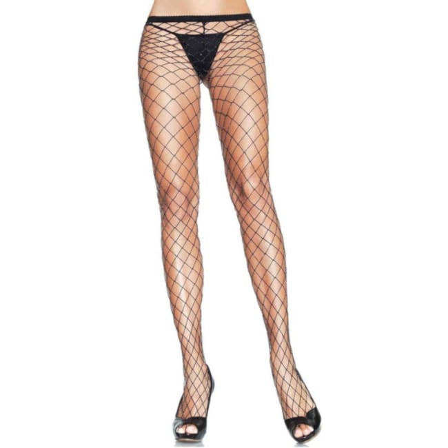Spandex Lurex Industrial FishNet Pantyhose - Black / One Size - Stockings