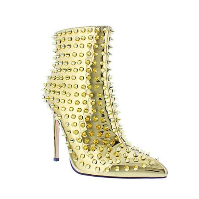 Studded Pointy Toe Booties - 6.5 / Gold - Heels