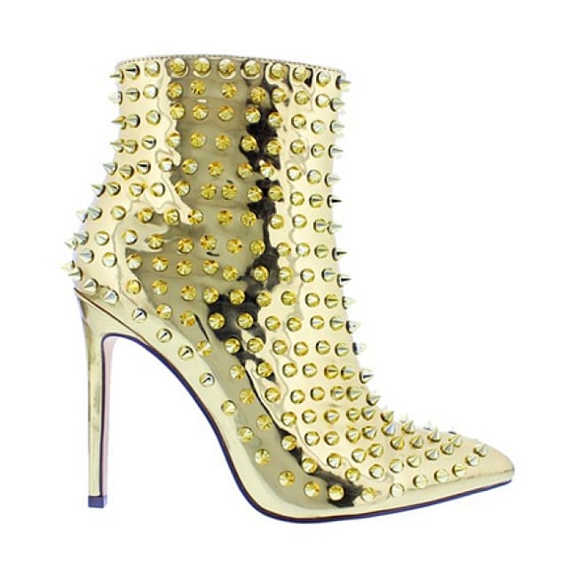 Studded Pointy Toe Booties - Heels