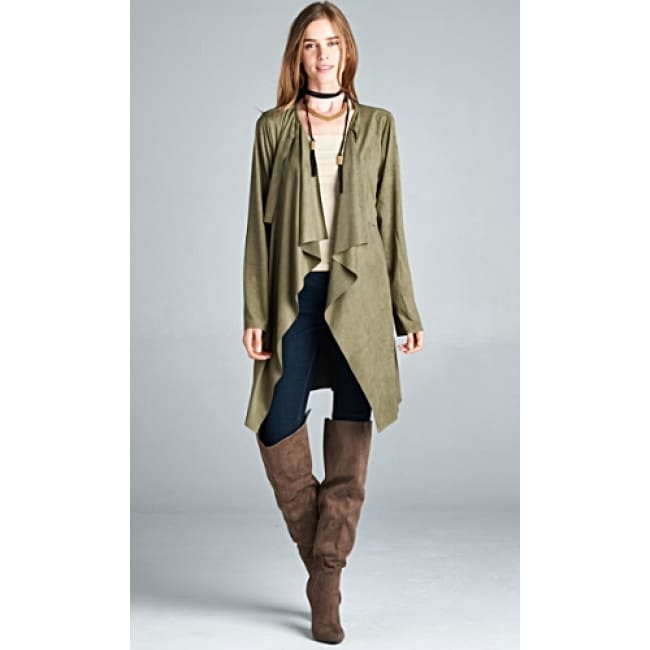 Suede Waterfall Trench Coat - womens Jackets